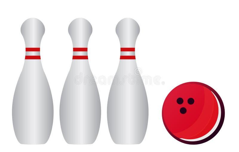 Vectorillustratie van kegelenspelden en kegelenbal vector illustratie