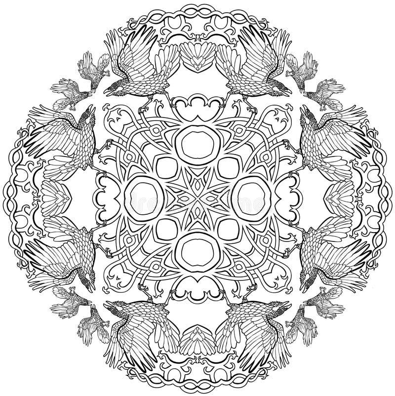 Vectorillustratie van Keltische zwart-witte mandala van het de fantasie dwarsornament van Viking van knoopraven stock illustratie