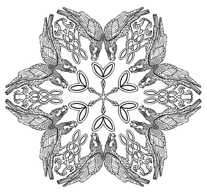 Vectorillustratie van Keltische zwart-witte mandala van het symboolraven van Viking royalty-vrije illustratie