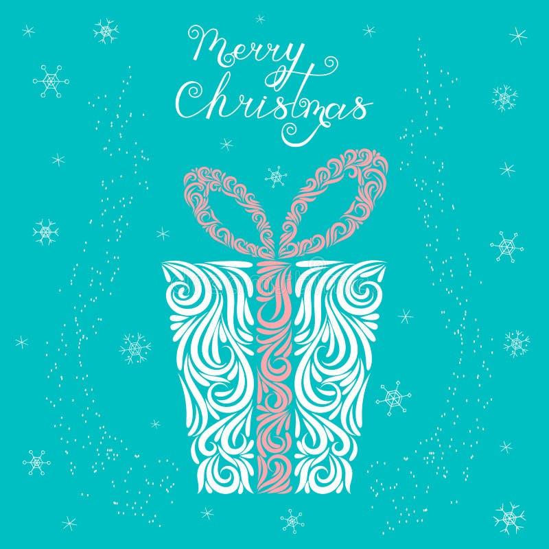 Vectorillustratie van Kerstmis huidig in een feestelijke doos in witte, blauwe en roze kleuren Gestileerde giftomslag Ornament ta stock illustratie
