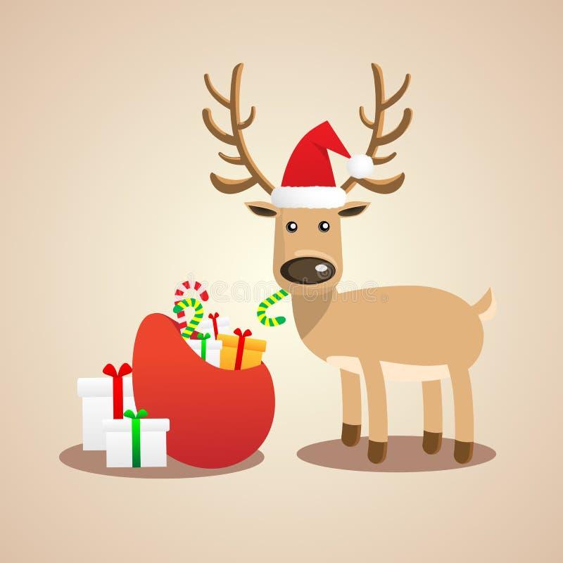 Vectorillustratie van Kerstmis leuk rendier royalty-vrije stock afbeeldingen