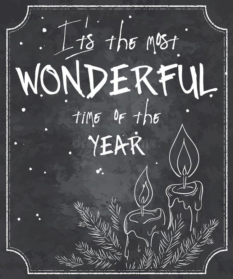 Vectorillustratie van Kerstmiscitaat van de bordstijl met overzicht van gesmolten kaarsen, tak van Kerstmisboom en sneeuwvlokken stock illustratie