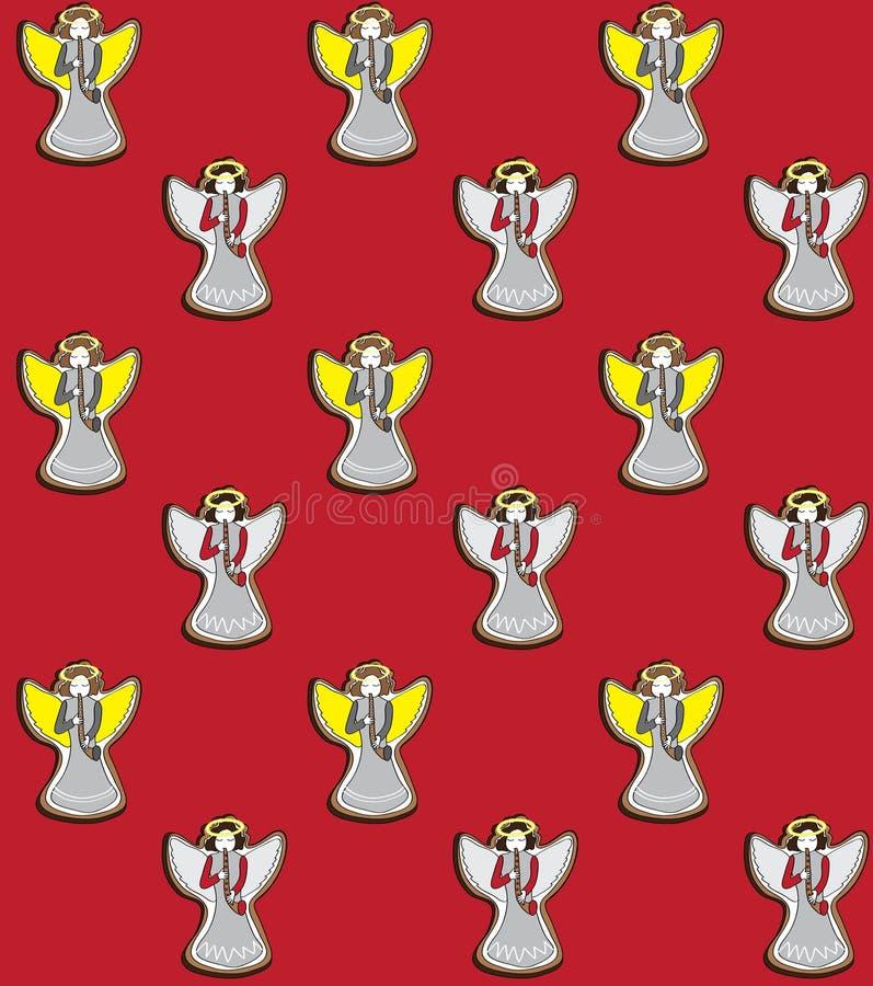 Vectorillustratie van Kerstmisengelen die de fluiten op het rode naadloze patroon spelen als achtergrond royalty-vrije illustratie