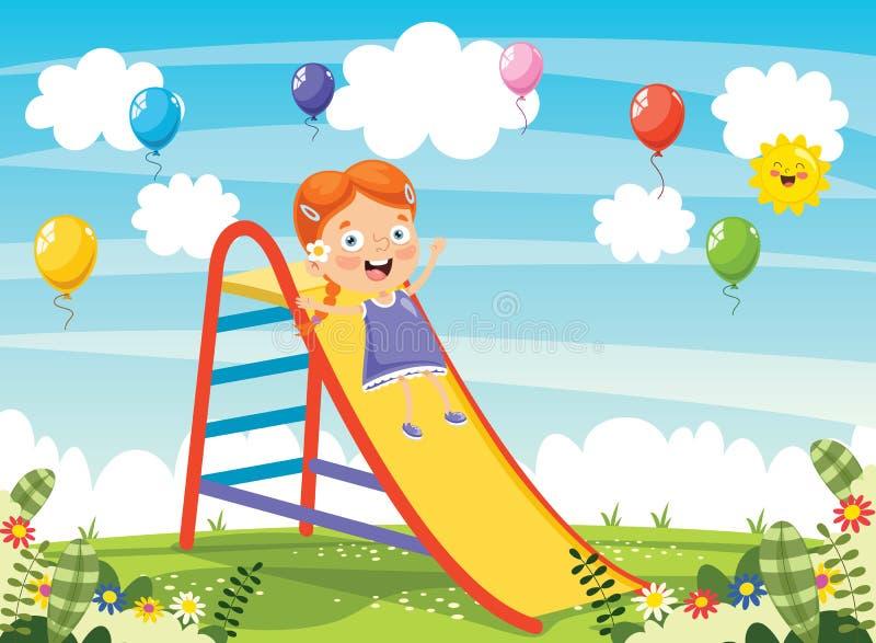 Vectorillustratie van Kind het Glijden vector illustratie