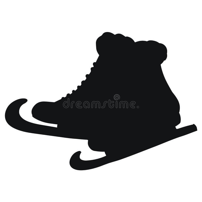 Vectorillustratie van klassiek schaatsen zwart silhouet stock illustratie