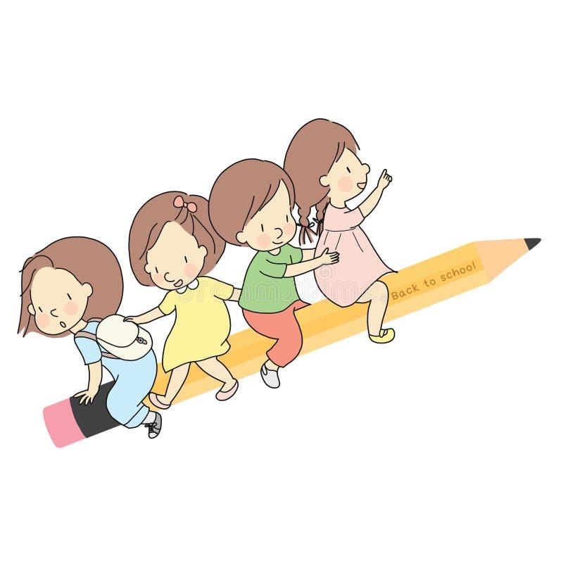 Vectorillustratie van kleine jonge geitjes die samen op geel houten potlood zitten Onthaal terug naar schoolkaart, prentbriefkaar vector illustratie