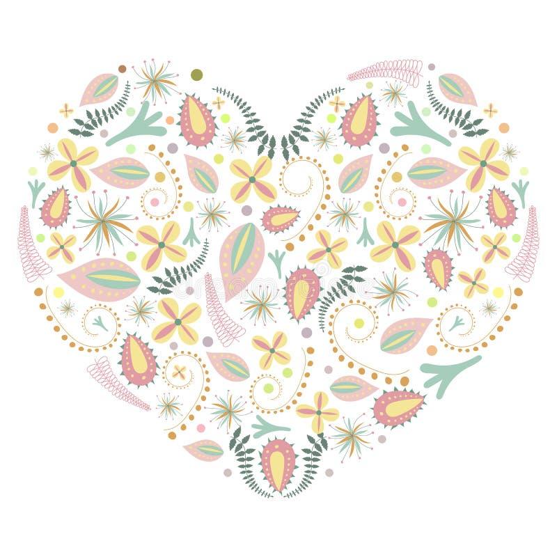 Vectorillustratie van kleurrijk bloemhart vector illustratie