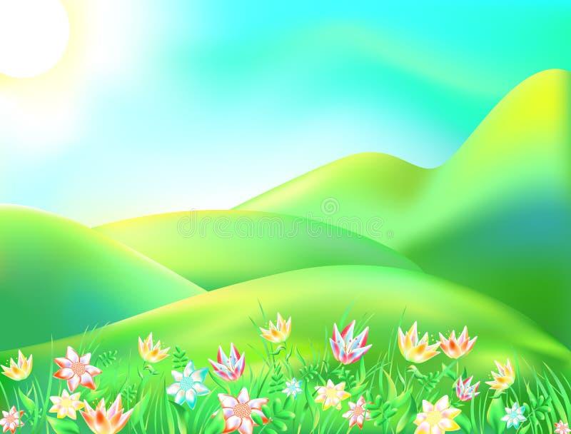 Vectorillustratie van kleurrijke aard Beeldverhaallandschap van een zonnige de zomerdag De kinderenachtergrond schildert een bos, stock illustratie