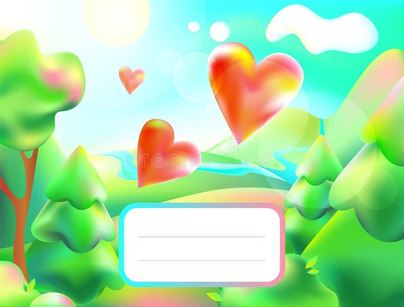 Vectorillustratie van kleurrijke aard Beeldverhaallandschap van een zonnige de zomerdag Kinderen achtergrondbos, berg, rivier, bo royalty-vrije illustratie