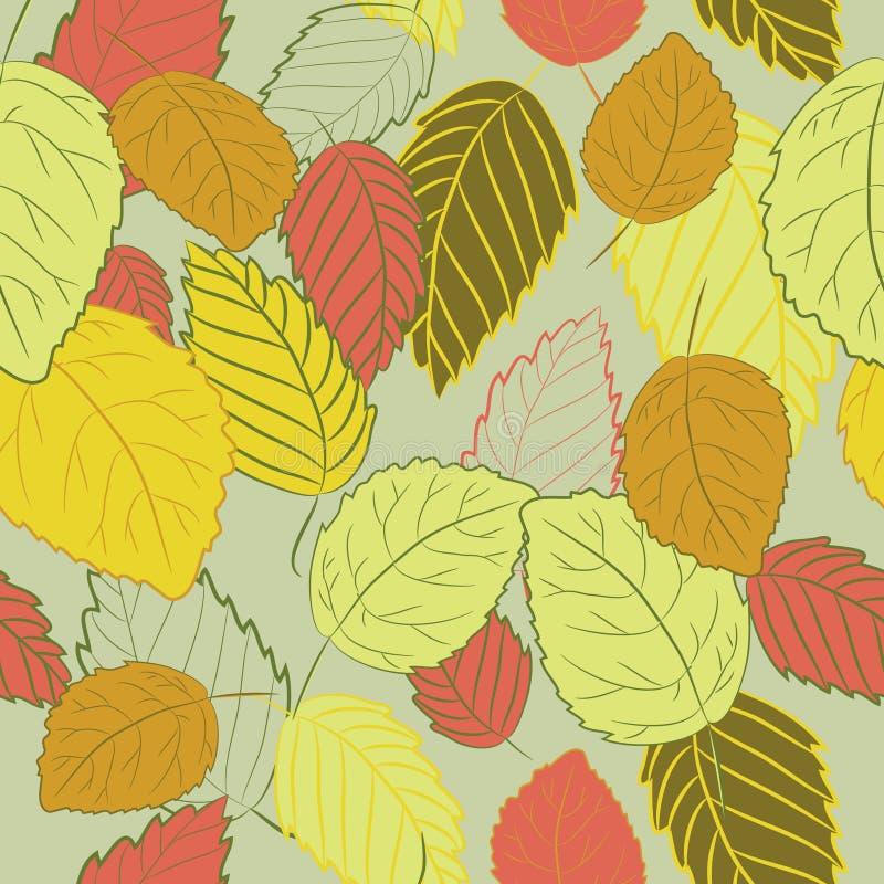 Vectorillustratie van kleurrijke de herfstbladeren op zachte groene achtergrond Naadloos patroon royalty-vrije illustratie