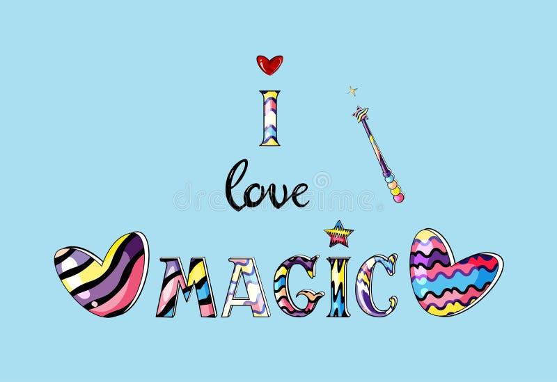 Vectorillustratie van kleurrijke het van letters voorzien I magische liefde geïsoleerd op blauwe achtergrond vector illustratie