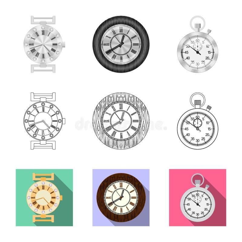 Vectorillustratie van klok en tijdembleem Reeks van klok en cirkel vectorpictogram voor voorraad royalty-vrije illustratie