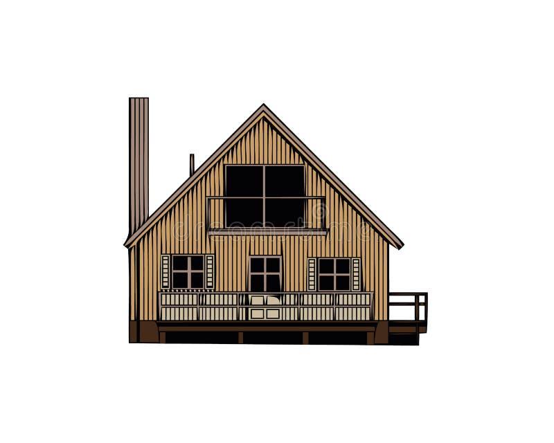 Vectorillustratie van koel gedetailleerd bruin die huispictogram op witte achtergrond wordt geïsoleerd royalty-vrije illustratie