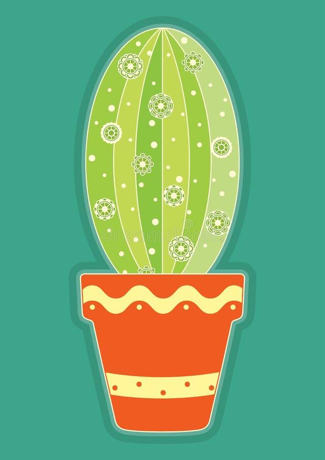 Vectorillustratie van krabbel gekleurde cactus in een ceramische kleipot Succulente de cactussenbloem van de beeldverhaalwoestijn stock illustratie