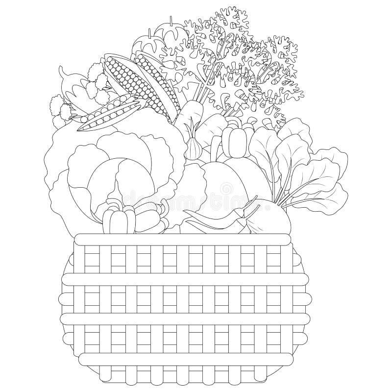 Vectorillustratie van Krabbelgroenten in een mand, antistresskleuring royalty-vrije illustratie
