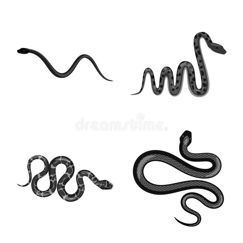 Vectorillustratie van kwaad en beetteken Reeks van kwaad en reptiel vectorpictogram voor voorraad royalty-vrije illustratie