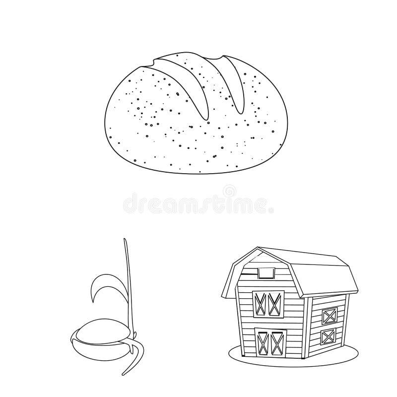 Vectorillustratie van landbouw en de landbouwembleem Reeks van landbouw en het symbool van de installatievoorraad voor Web stock illustratie