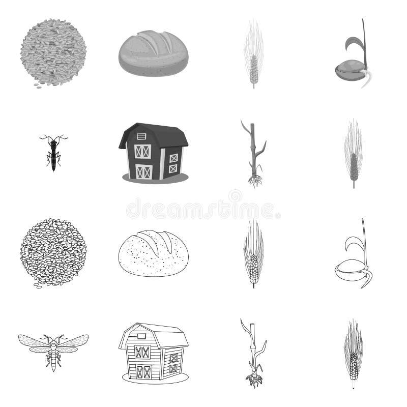 Vectorillustratie van landbouw en de landbouwpictogram Inzameling van landbouw en het symbool van de installatievoorraad voor Web stock illustratie
