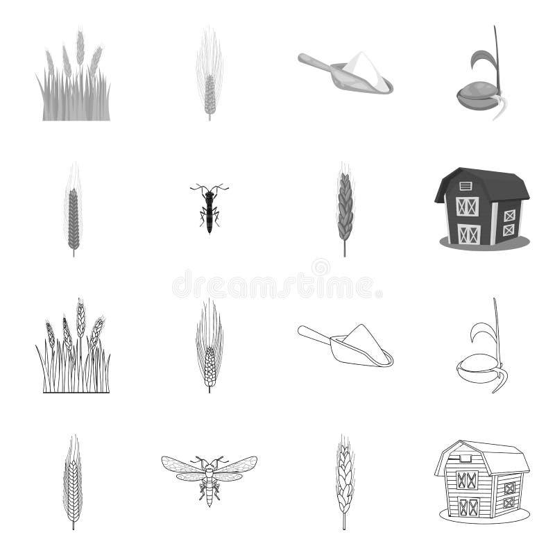 Vectorillustratie van landbouw en de landbouwsymbool Reeks van landbouw en de vectorillustratie van de installatievoorraad stock illustratie