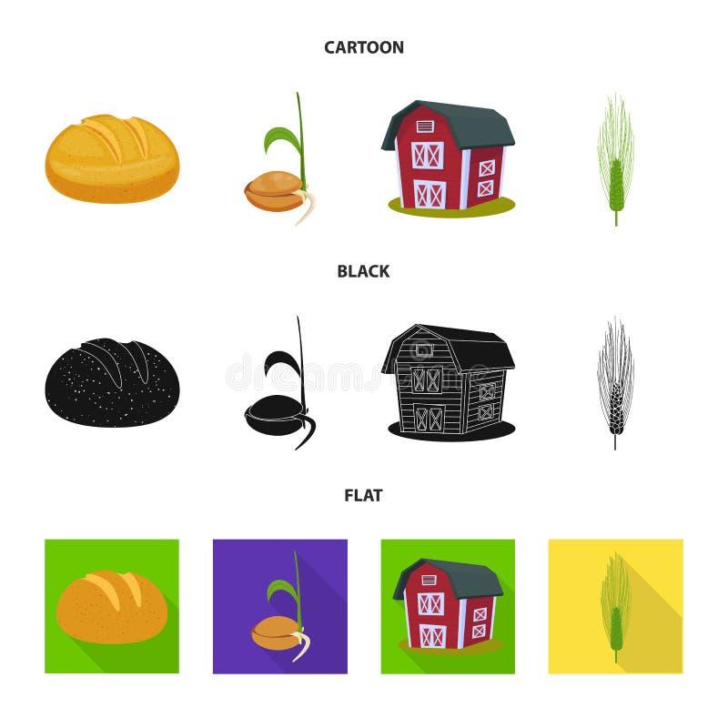 Vectorillustratie van landbouw en de landbouwsymbool Reeks van landbouw en de vectorillustratie van de installatievoorraad royalty-vrije illustratie