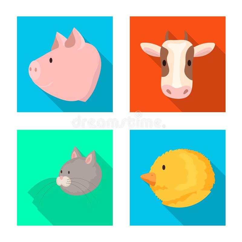 Vectorillustratie van landbouw en het fokkensymbool Inzameling van landbouw en organische voorraad vectorillustratie royalty-vrije illustratie