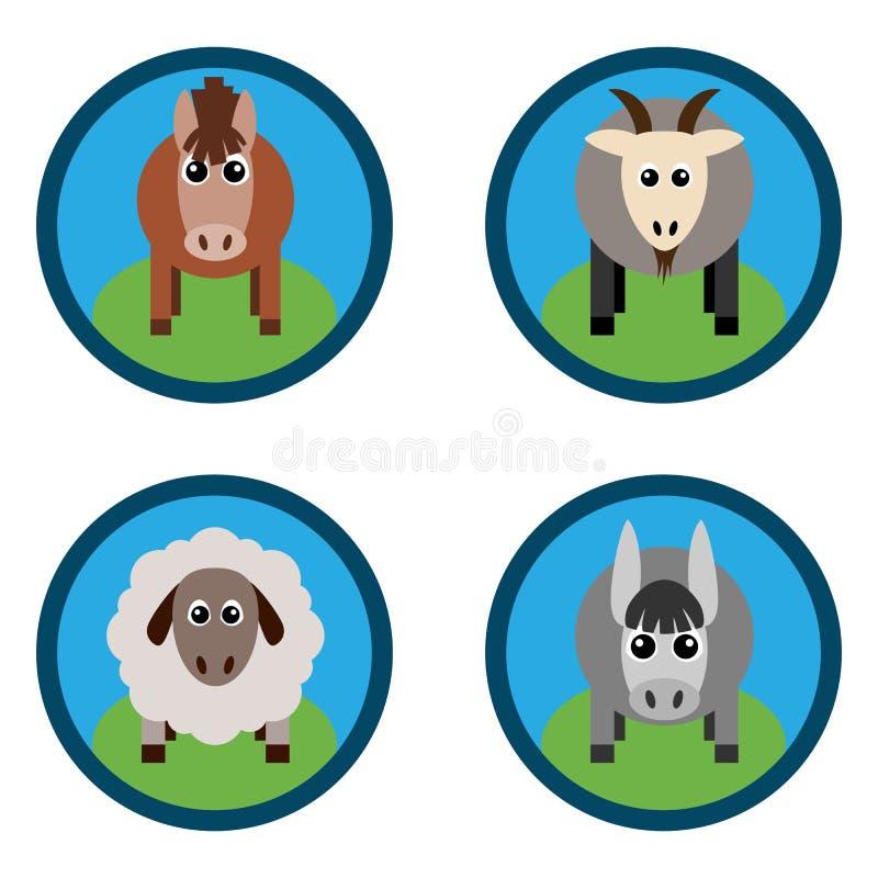Vectorillustratie van landbouwbedrijfdieren Paard, schapen, geit, een ezel royalty-vrije illustratie