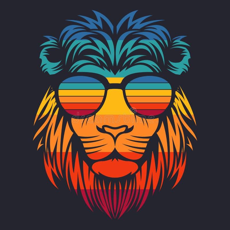 Vectorillustratie van leeuw de hoofd retro oogglazen vector illustratie