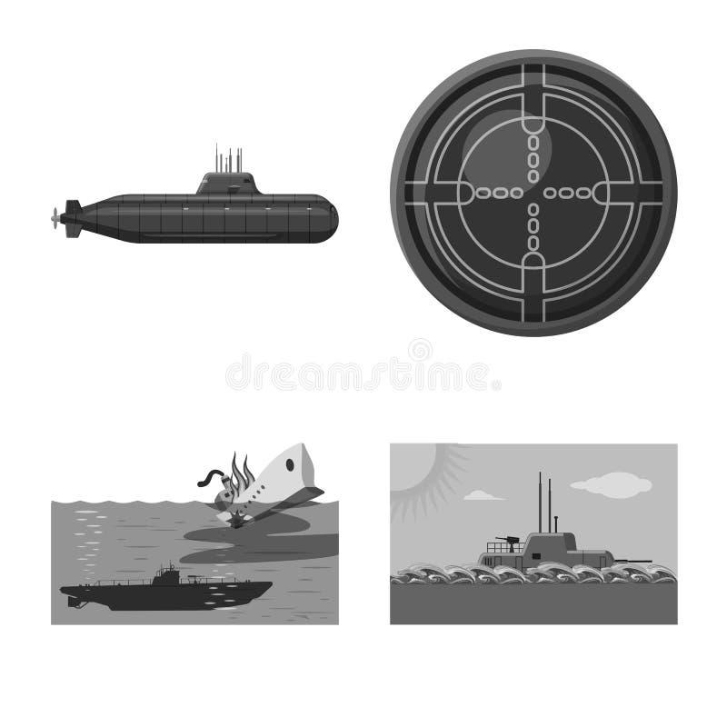 Vectorillustratie van leger en diep embleem Inzameling van leger en kern vectorpictogram voor voorraad vector illustratie