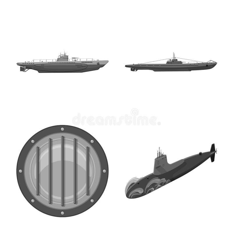 Vectorillustratie van leger en diep embleem Reeks van leger en kern vectorpictogram voor voorraad royalty-vrije illustratie