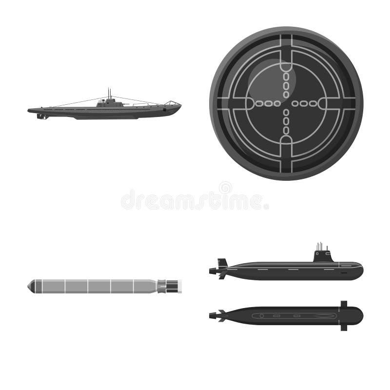 Vectorillustratie van leger en diep embleem Reeks van leger en kern vectorpictogram voor voorraad vector illustratie