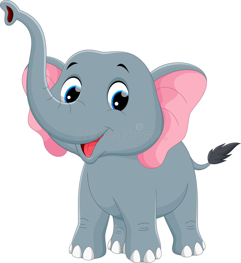 Vectorillustratie van leuk olifantsbeeldverhaal stock illustratie