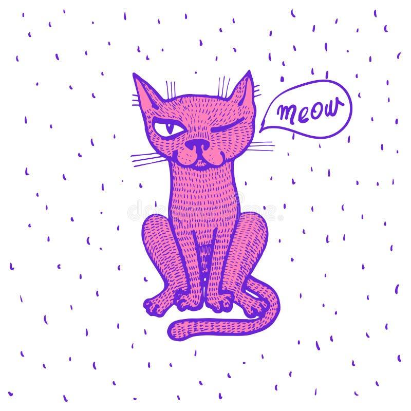 Vectorillustratie van leuke beeldverhaalhand getrokken witte kat met open wapens, gelukkig gezicht, het van letters voorzien vrij vector illustratie