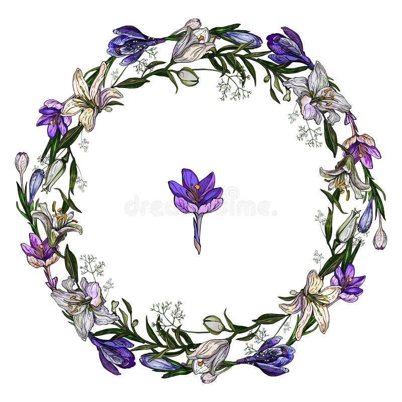 Vectorillustratie van leuke bloemendieslinger van krokussen en lelies op witte achtergrond worden geïsoleerd stock afbeelding