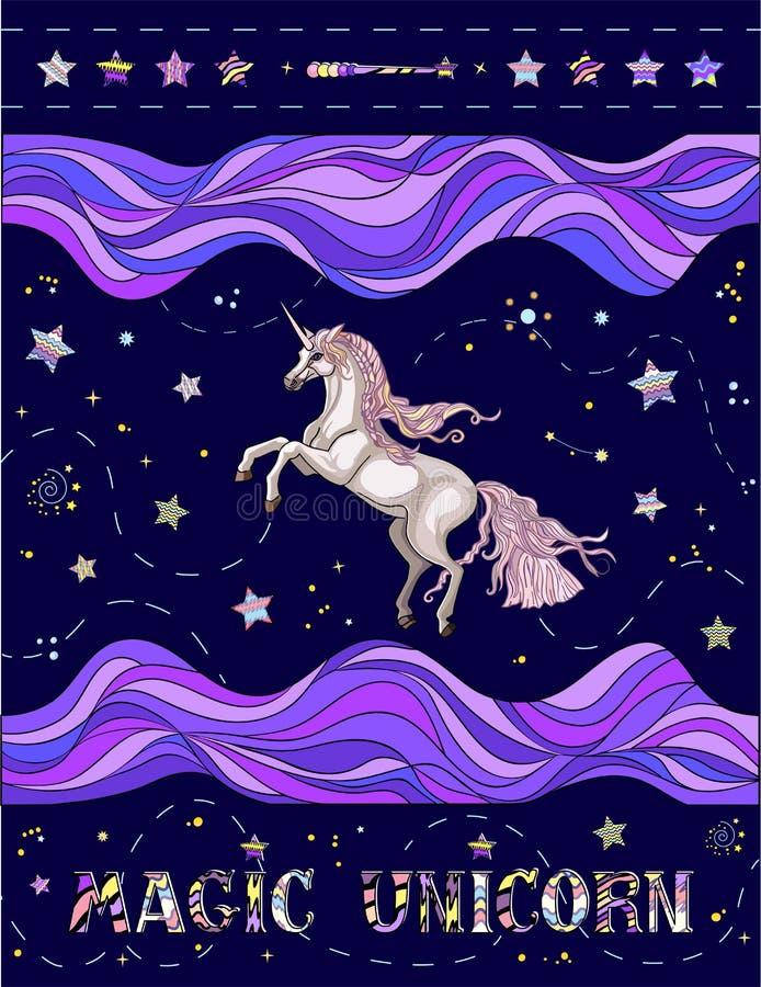 Vectorillustratie van leuke eenhoorn met gestreepte golven, sterren, uitdrukking op de blauwe achtergrond stock fotografie