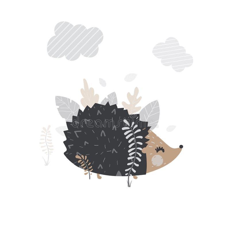 Vectorillustratie van leuke egel voor uw prentbriefkaar van de de wintergelukwens royalty-vrije illustratie