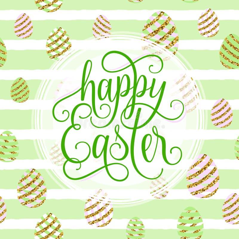 Vectorillustratie van leuke gelukkige Pasen-groetkaart vector illustratie