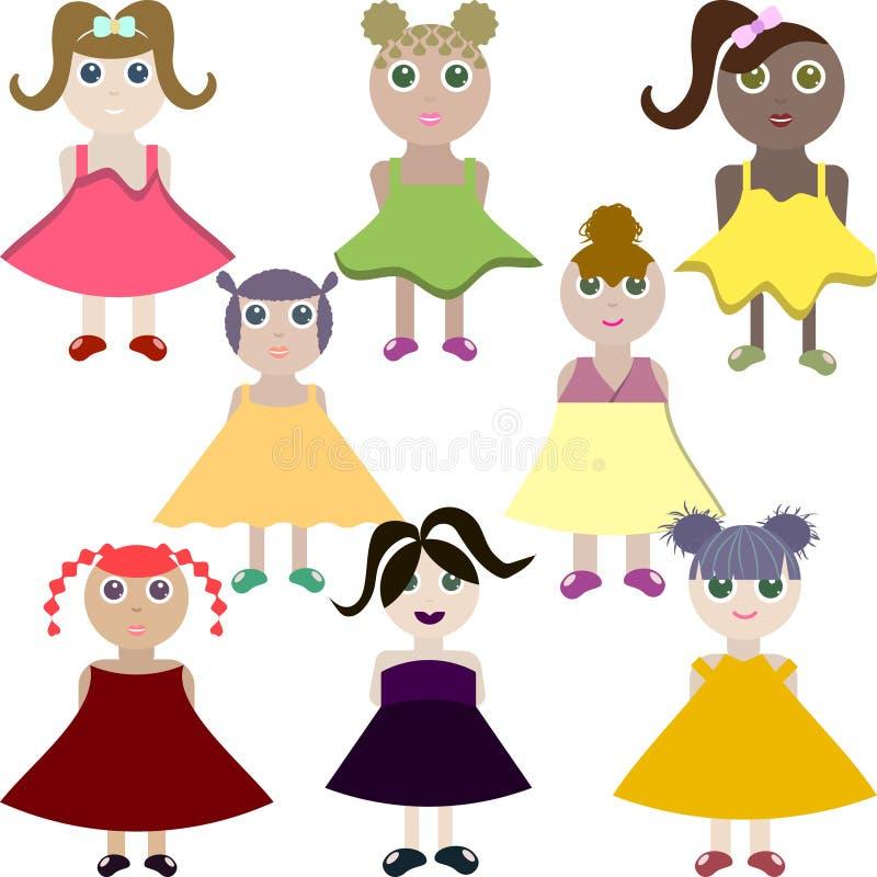 Vectorillustratie van leuke meisjes stock illustratie