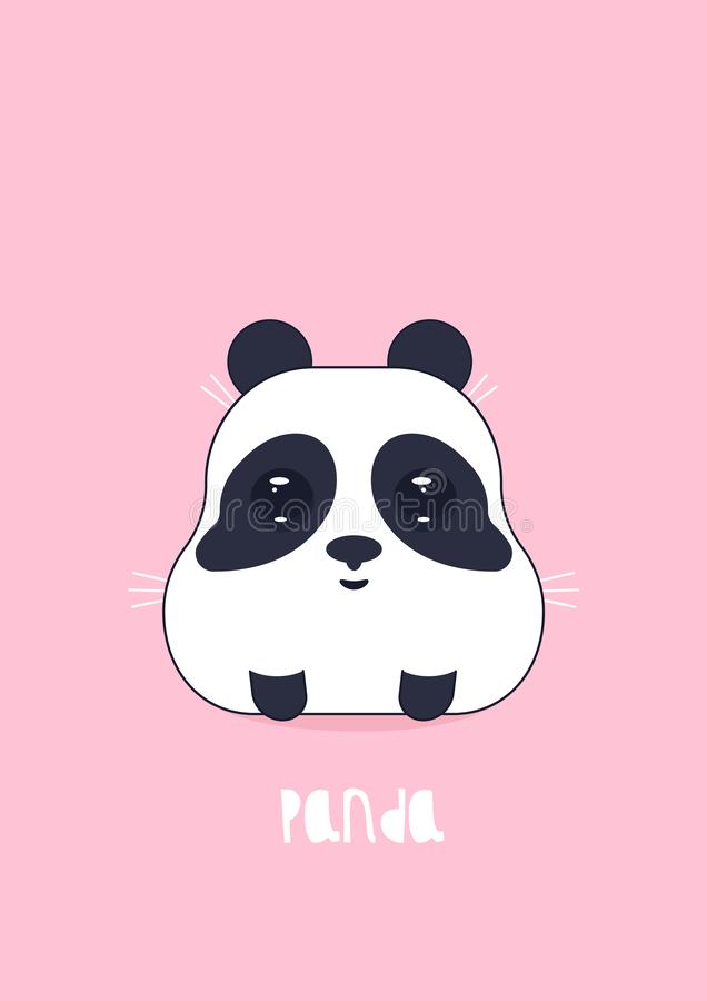 Vectorillustratie van leuke panda op een roze achtergrond stock illustratie
