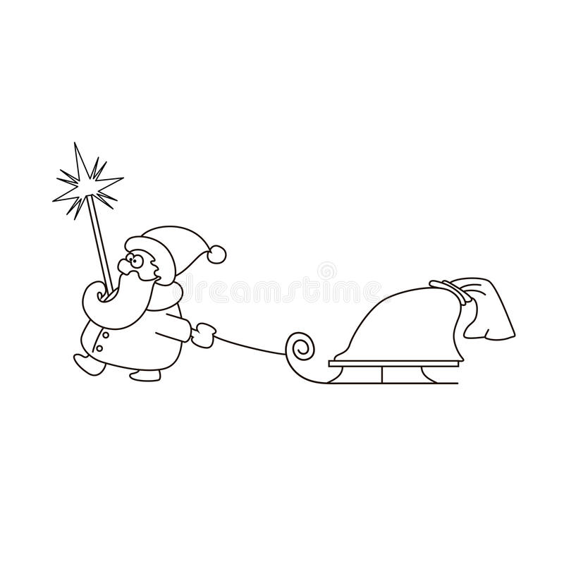 Vectorillustratie van lineaire Santa Claus met slee en zak royalty-vrije illustratie