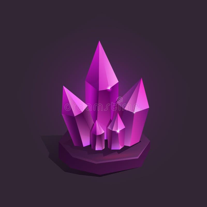 Vectorillustratie van magisch beeldverhaalkristal Pictogram voor spel stock illustratie