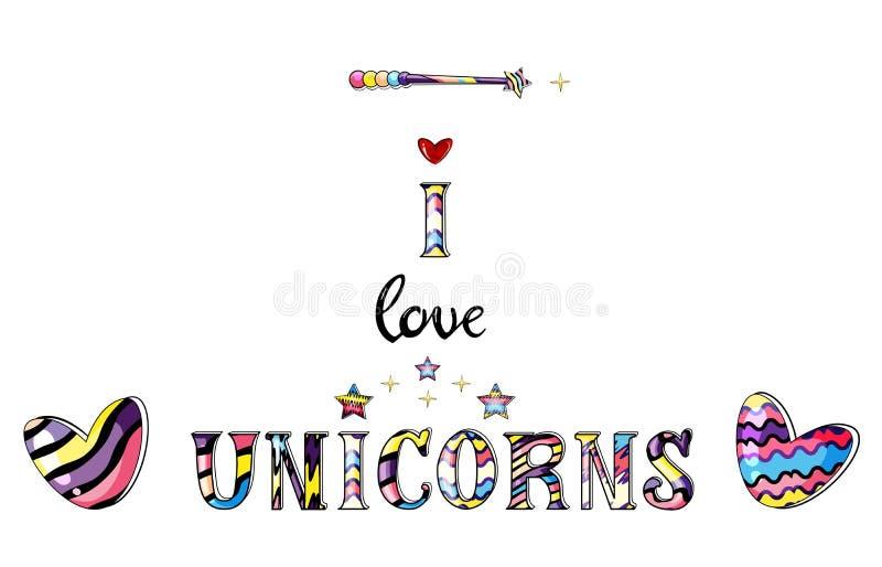 Vectorillustratie van magisch die bericht i liefdeeenhoorns in regenboogkleuren op witte achtergrond worden geïsoleerd stock illustratie