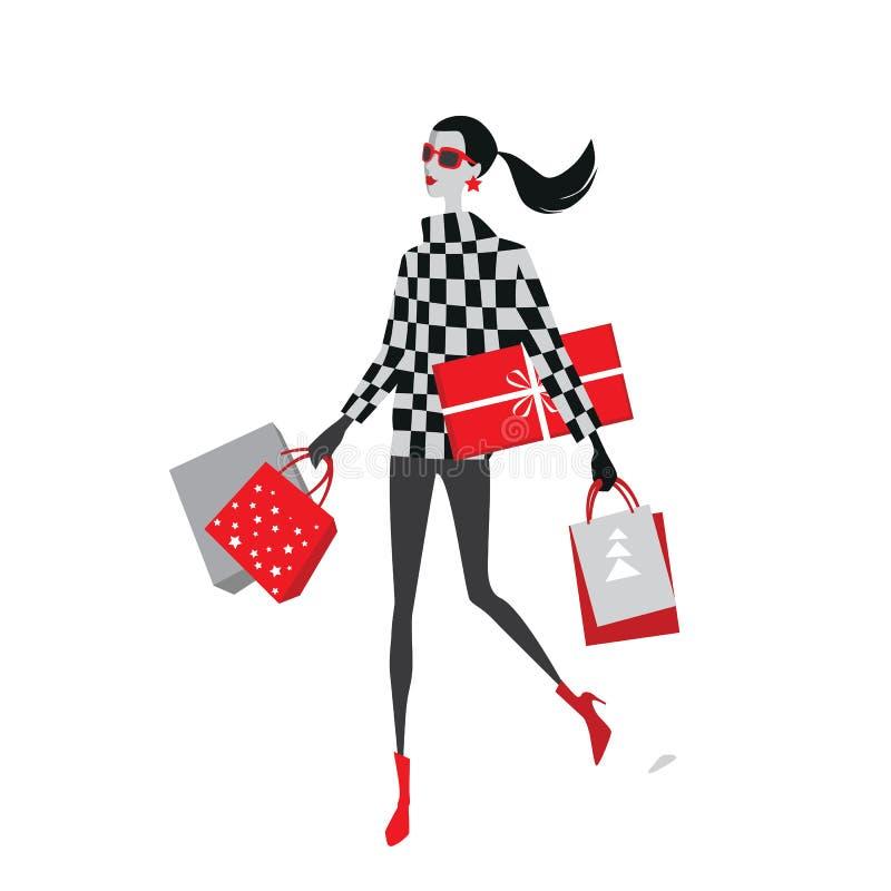 Vectorillustratie van maniermeisjes met Kerstmisgiften royalty-vrije illustratie
