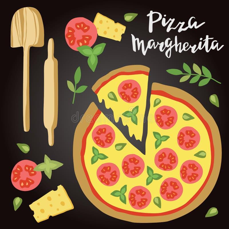 Vectorillustratie van Margherita Pizza met ingrediënten royalty-vrije illustratie
