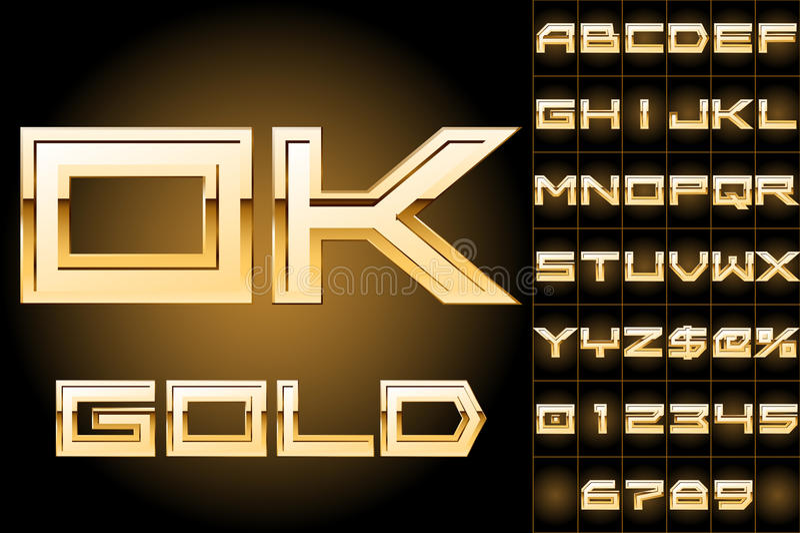 Vectorillustratie van meest boldest gouden brieven vector illustratie