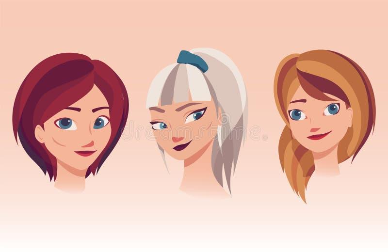 Vectorillustratie van meisjesgezichten met verschillende kapsels, haarkleuren stock illustratie