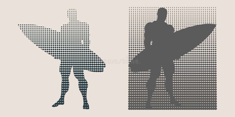 Vectorillustratie van mens het stellen met surfplank stock illustratie