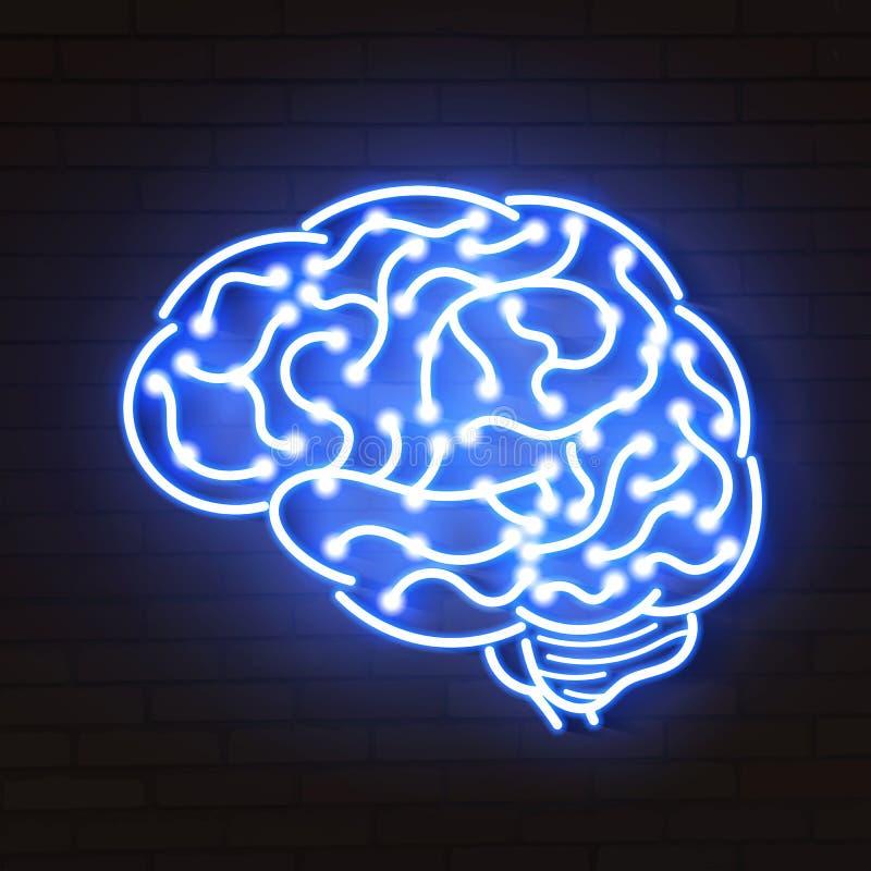 Vectorillustratie van menselijke hersenen Het teken van het neon op blauwe achtergrond vector illustratie