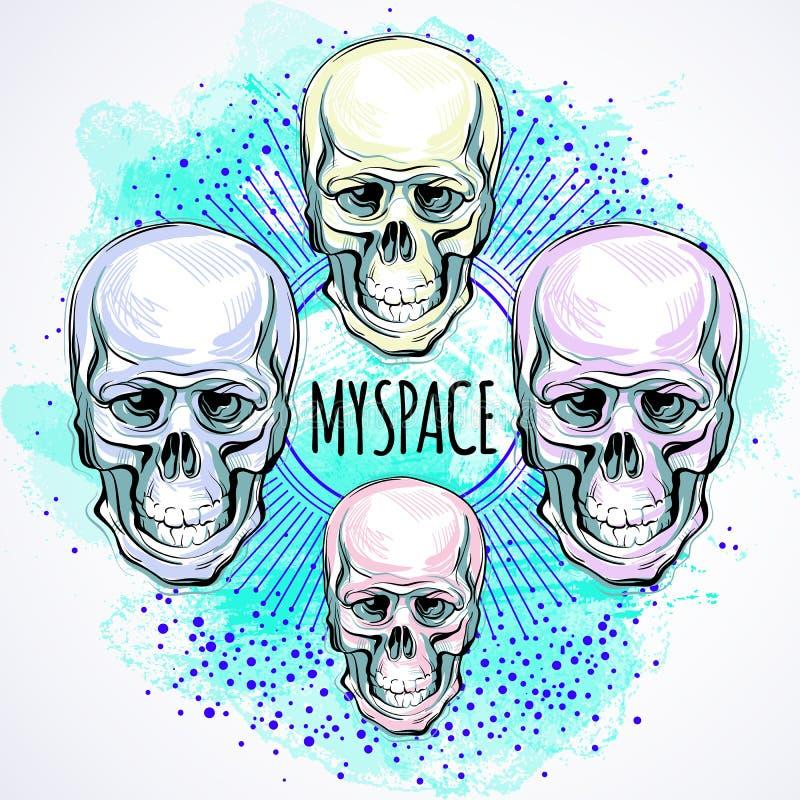 In vectorillustratie van menselijke schedels over de Ruimtepatroonachtergrond Magisch symbool van het heilige leven en bittere wa vector illustratie
