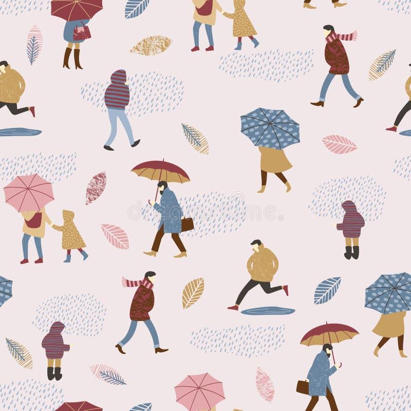 Vectorillustratie van mensen in de regen De stemming van de herfst Vele roze en magenta asters royalty-vrije illustratie
