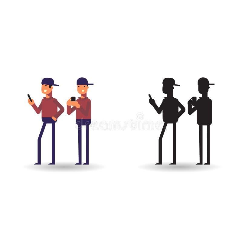 Vectorillustratie van mensen die in telefoon spelen Pictogrammens en hem silhouet in beeldverhaalstijl stock afbeelding